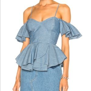 SEA off the shoulder chambray peplum top